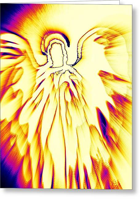 Golden Light Angel Greeting Card by Alma Yamazaki