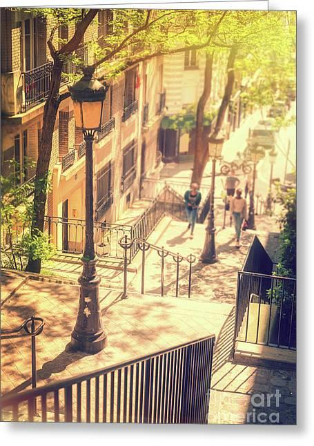 Golden Light In Montmartre, Paris Greeting Card