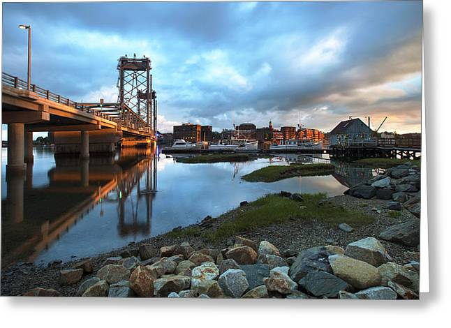 Golden Light In Portsmouth Greeting Card by Eric Gendron