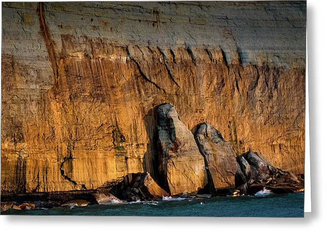 Golden Light On The Pictured Rocks. Greeting Card