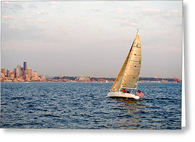 Golden Light Sails Greeting Card by Tom Dowd