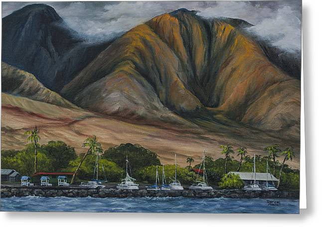 Greeting Card featuring the painting Golden Light West Maui  by Darice Machel McGuire