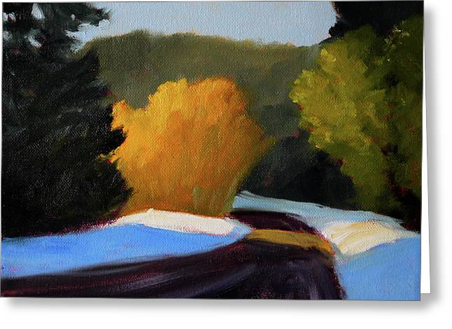 Greeting Card featuring the painting Golden Light Winter Road by Nancy Merkle