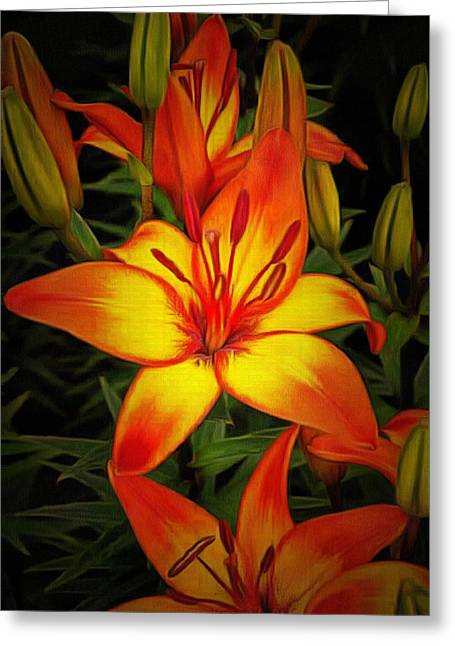 Golden Lilies Greeting Card