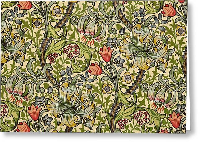 Golden Lily Pattern Greeting Card by William Morris