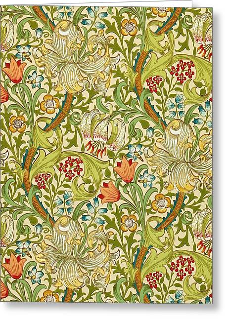 Golden Lily Greeting Card by William Morris
