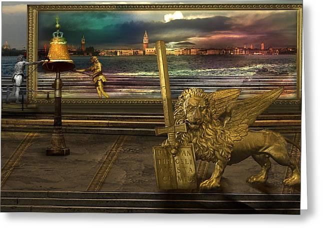 Golden Lion From Alternative Earth Greeting Card by Desislava Draganova