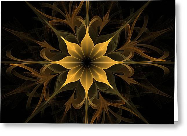 Golden Lotus Swirls Greeting Card