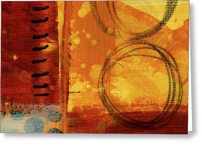 Greeting Card featuring the painting Golden Marks 10 by Nancy Merkle