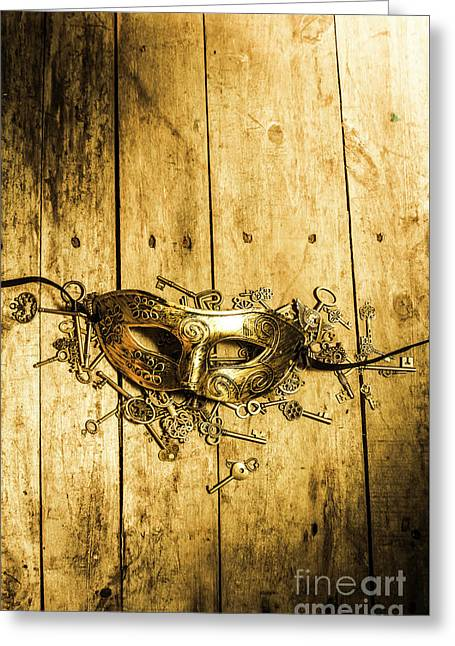 Golden Masquerade Mask With Keys Greeting Card by Jorgo Photography - Wall Art Gallery