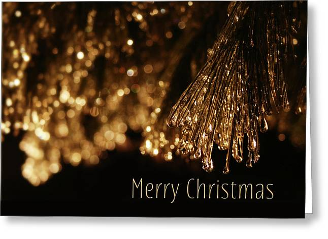 Golden Merry Christmas Greeting Card by Lori Deiter