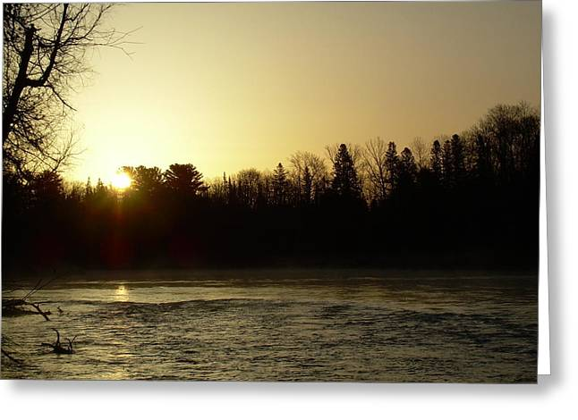 Greeting Card featuring the photograph Golden Mississippi River Sunrise by Kent Lorentzen
