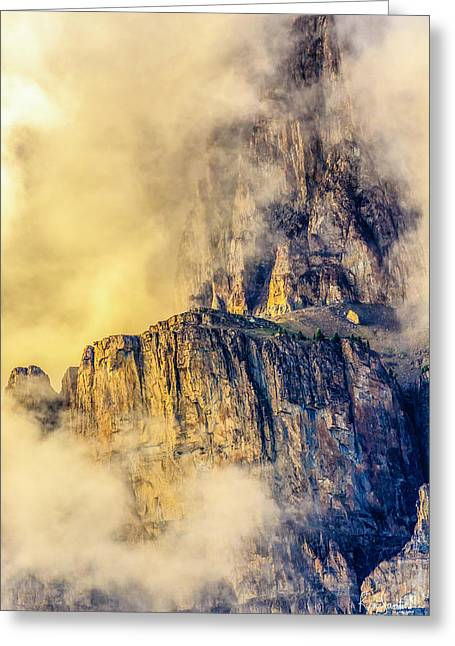 Golden Mist On Cathedral Mountain Greeting Card