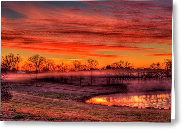 Golden Mist Sunrise Walker Farm Art Greeting Card by Reid Callaway