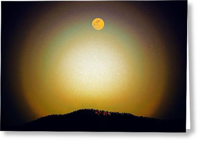 Golden Moon Greeting Card by Joseph Frank Baraba