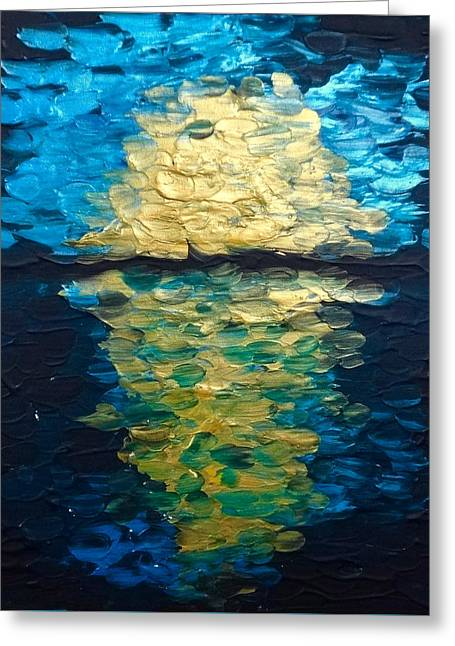 Golden Moon Reflection Greeting Card
