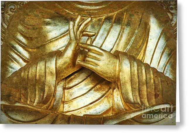 Golden Mudra Greeting Card by Tim Gainey