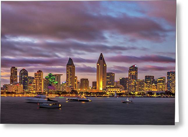 Golden Night In San Diego Greeting Card by Peter Tellone