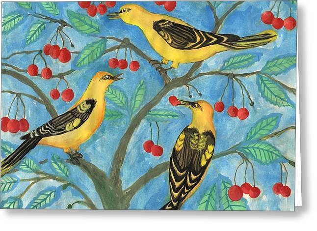 Sue Burgess Greeting Cards - Golden Orioles in a Cherry Tree Greeting Card by Sushila Burgess