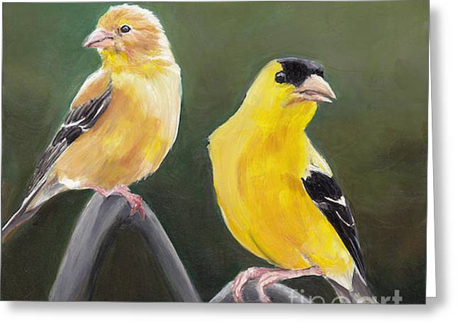 Golden Pair Greeting Card by Charlotte Yealey