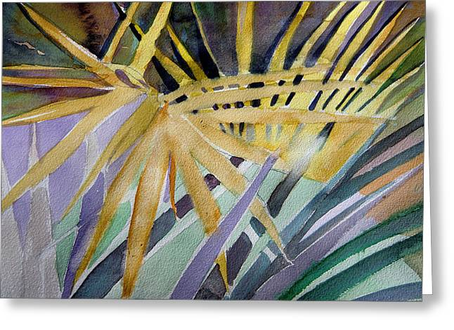 Golden Palms Greeting Card by Mindy Newman