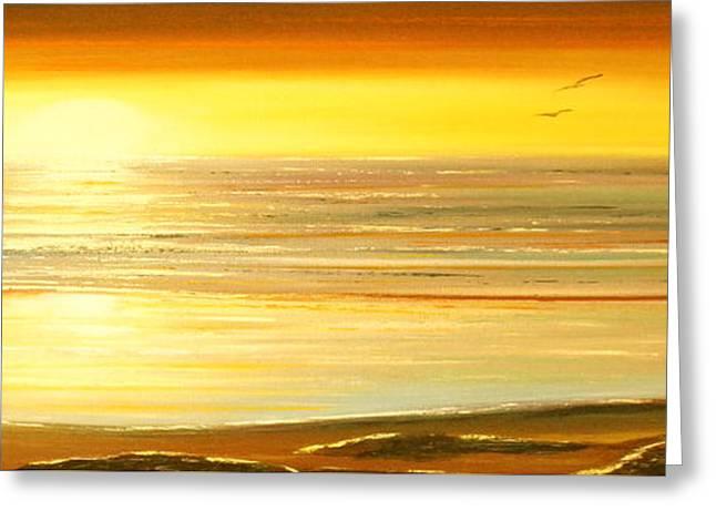 Golden Panoramic Sunset Greeting Card by Gina De Gorna