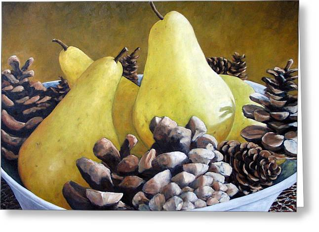 Golden Pears And Pine Cones Greeting Card by Richard T Pranke