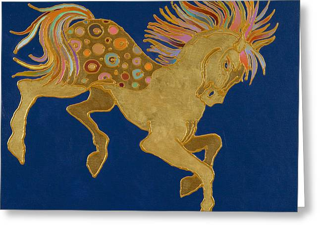 Greeting Card featuring the painting Golden Pegasus by Bob Coonts