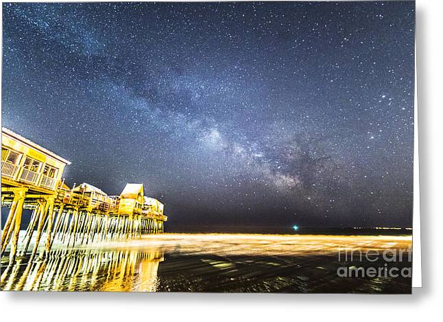 Golden Pier Under The Milky Way Version 1.0 Greeting Card by Patrick Fennell