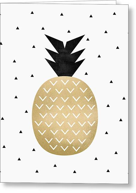 Golden Pineapple Greeting Card by Elisabeth Fredriksson