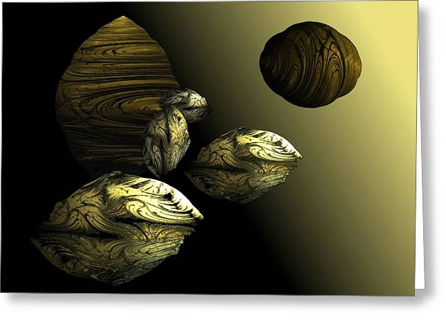 Golden Planet Greeting Card by Ricky Kendall