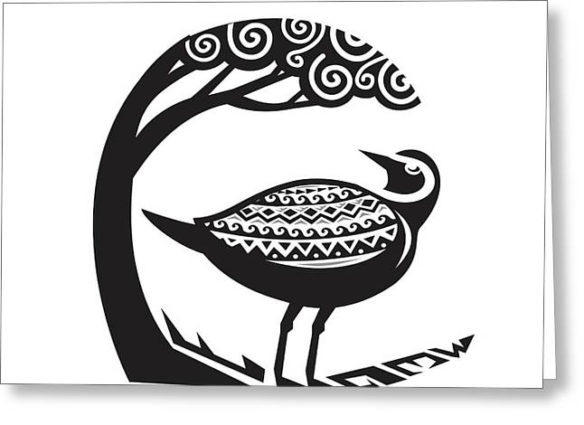 Golden Plover Standing Tree Tribal Art Greeting Card by Aloysius Patrimonio