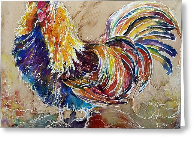 Greeting Card featuring the painting Golden Polish Chicken by Christy  Freeman