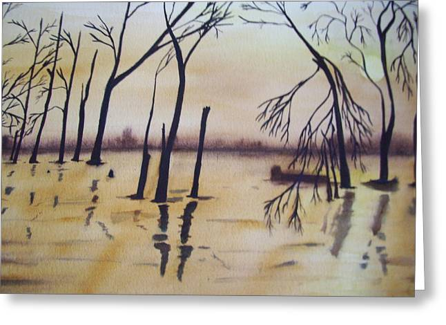 Golden Pond Greeting Card by Audrey Bunchkowski