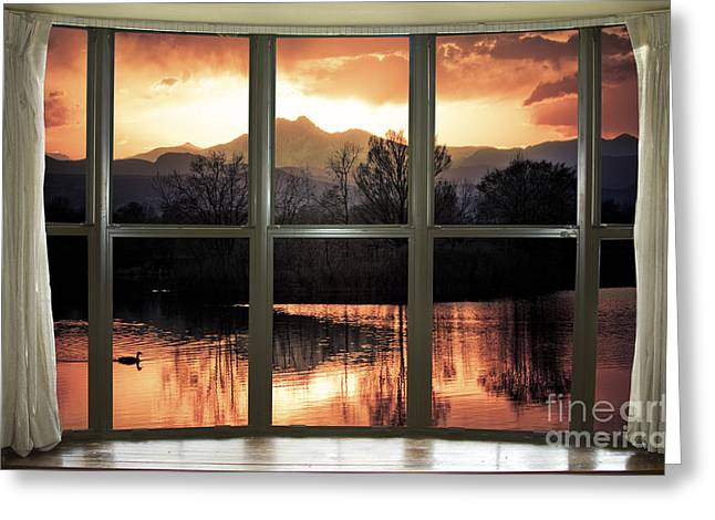 Golden Ponds Bay Window View Greeting Card