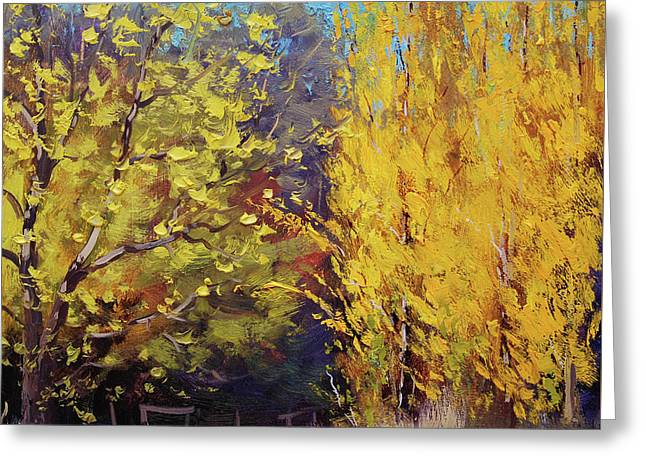 Golden Poplars Greeting Card