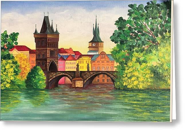 Karl's Bridge. Prague  Greeting Card by Elena Hrebonkina