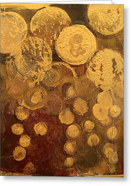 Golden Rain Abstract Greeting Card