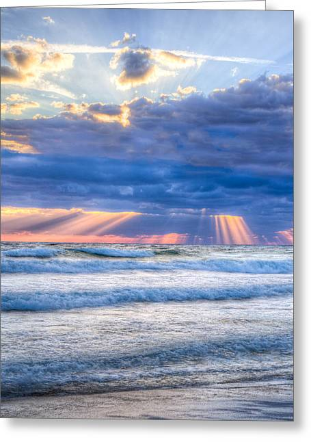 Golden Rays In Blue Greeting Card by Debra and Dave Vanderlaan