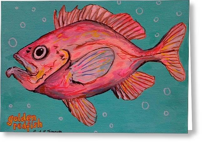 Golden Redfish Greeting Card by Emily Reynolds Thompson