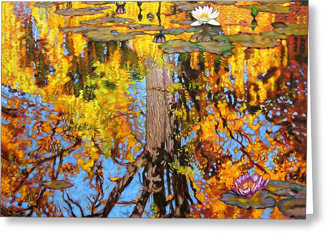 Golden Reflections On Lily Pond Greeting Card by John Lautermilch