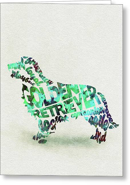 Greeting Card featuring the painting Golden Retriever Dog Watercolor Painting / Typographic Art by Ayse and Deniz