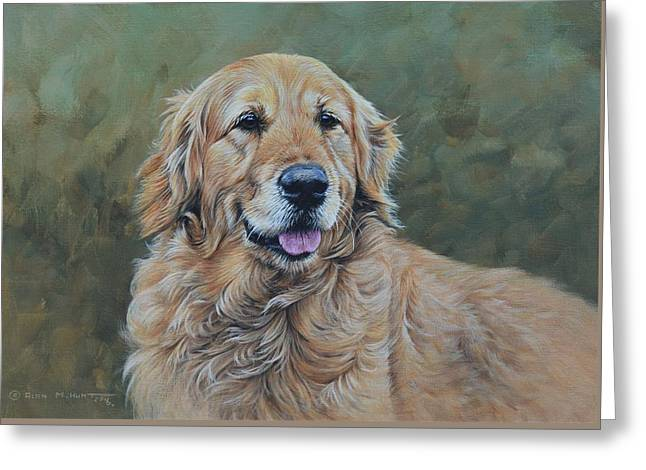 Greeting Card featuring the painting Golden Retriever Portrait by Alan M Hunt