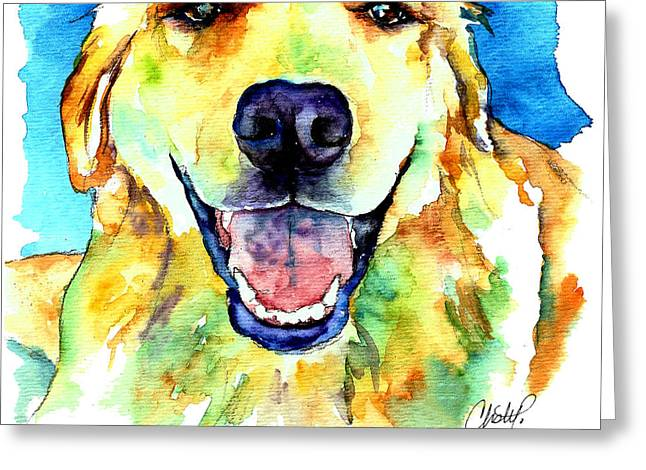 Golden Puppy Greeting Cards - Golden Retriever Portrait Greeting Card by Christy  Freeman