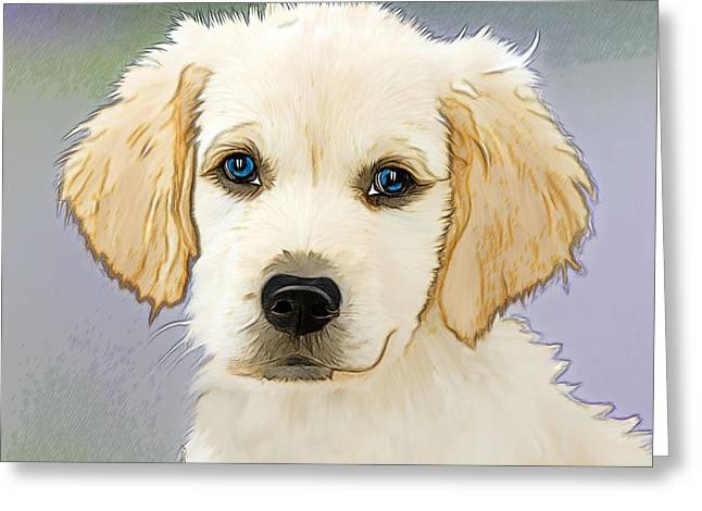 Golden Retriever Puppy Greeting Card by EricaMaxine Price