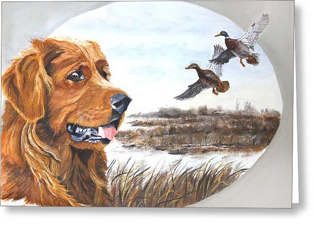 Golden Retriever With Marsh Scene Greeting Card by Johanna Lerwick