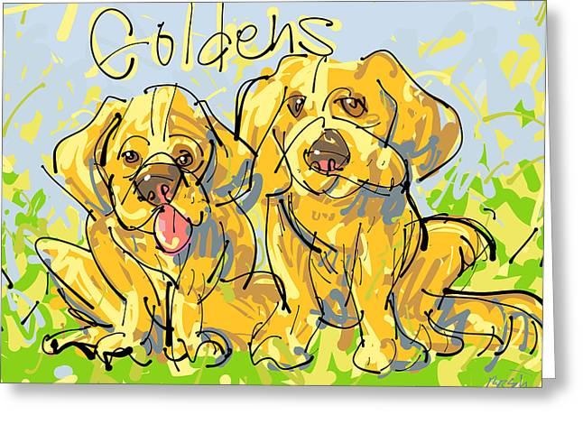 Golden Retrievers Greeting Card by Brett LaGue