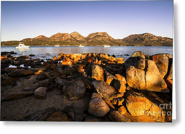Golden Rocky Beachfront Greeting Card by Jorgo Photography - Wall Art Gallery