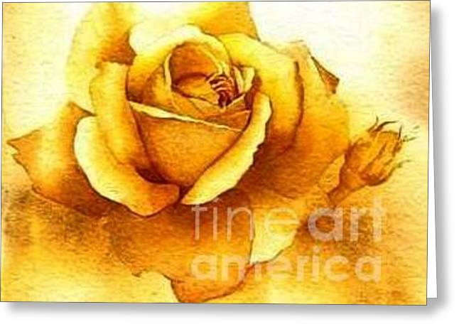 Greeting Card featuring the painting Golden Rose by Sandra Phryce-Jones