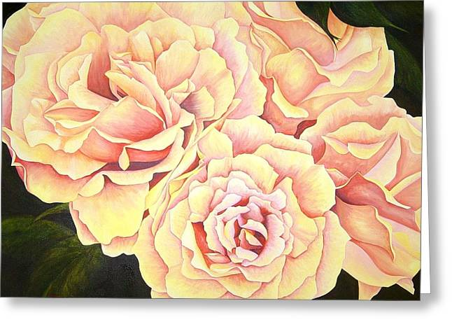 Golden Roses Greeting Card by Rowena Finn